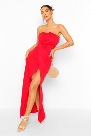 Boohoo Dame Maxikjoler - Bandeau Wrap Detail Split Maxi Dress