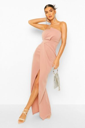 Boohoo Bandeau Wrap Detail Split Maxi Dress