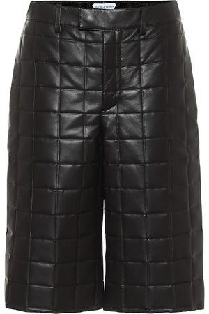 Bottega Veneta Mid-rise leather Bermuda shorts