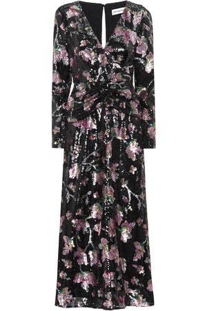 Self-Portrait Floral sequined midi dress
