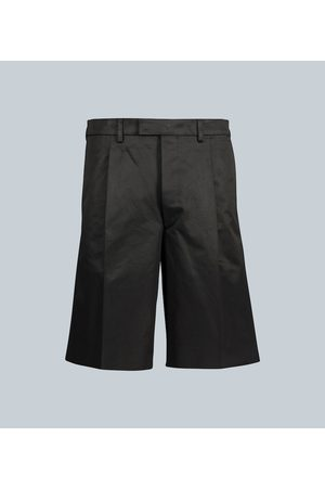 Prada Pleated cotton-twill shorts