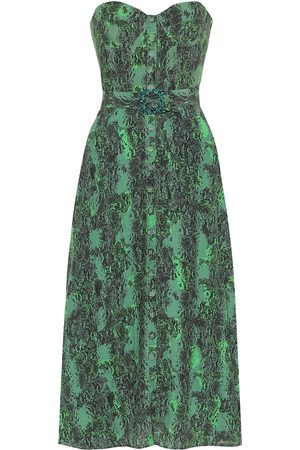 ROTATE Peggy printed bustier midi dress