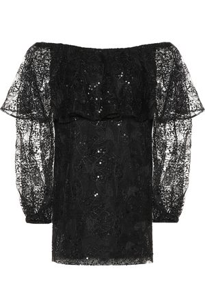ROTATE Exclusive to Mytheresa – Lace off-the-shoulder minidress