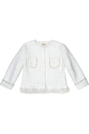 MONNALISA Feather-trimmed tweed jacket