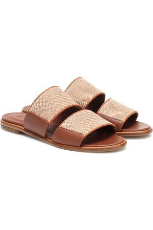 Loro Piana Kalahari leather-trimmed slides