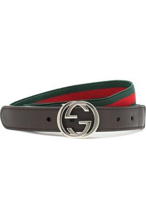 Gucci Web Stripe leather-trimmed belt