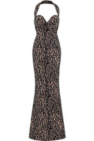Alaïa Panther-print velvet jacquard gown
