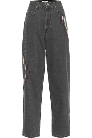 Isabel Marant Corsyb embroidered high-rise straight jeans