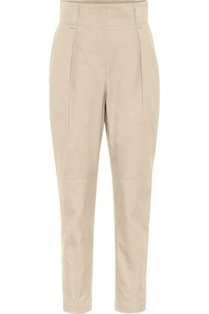 Brunello Cucinelli Cotton-blend high-rise tapered pants