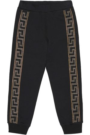 VERSACE Embellished cotton trackpants