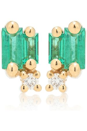 Suzanne Kalan Fireworks 18kt gold earrings with emeralds and diamonds