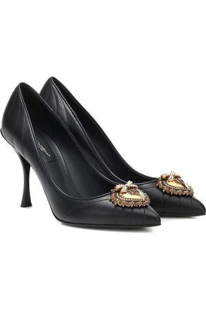 Dolce & Gabbana Lori matelassé leather pumps