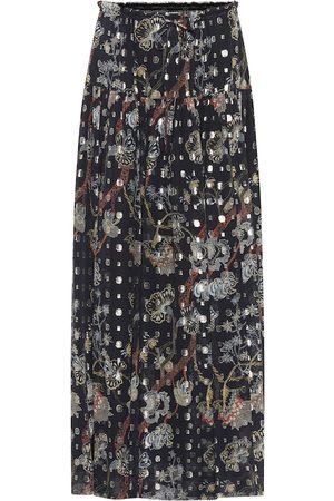 Chloé Silk fil coupé midi skirt