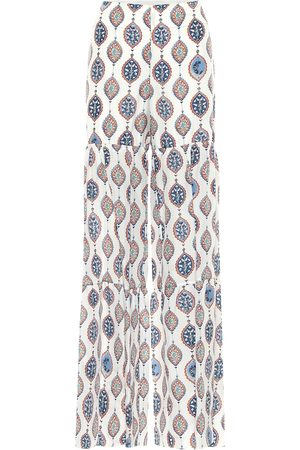 Chloé Printed habutai-silk wide-leg pants