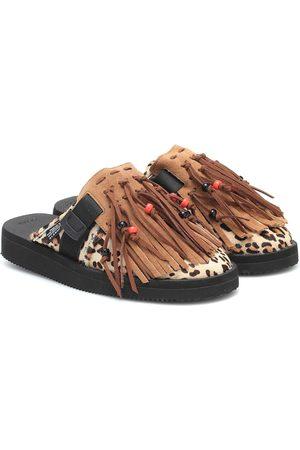 Alanui X Suicoke leopard-print calf hair slippers
