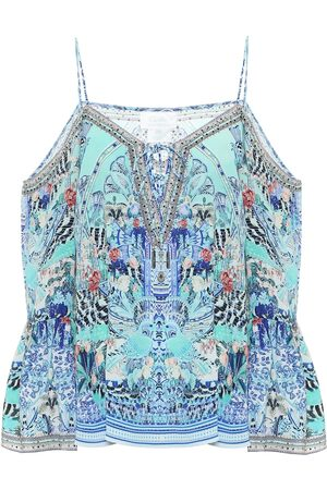 Camilla Embellished printed silk camisole