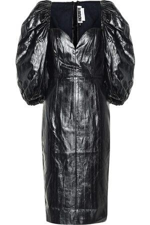 ROTATE Irina faux leather midi dress