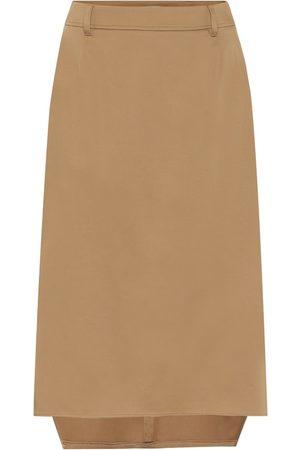 Prada High-rise stretch-cotton midi skirt