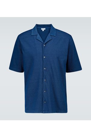 Sunspel Piqué cotton camp-collar shirt