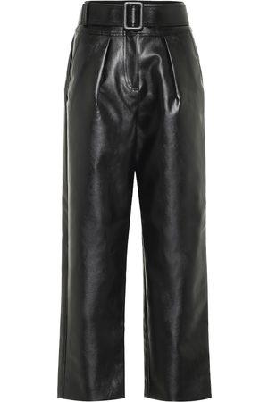 Self-Portrait High-rise wide-leg leather pants