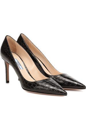 Prada Croc-effect leather pumps