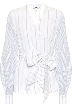 Ganni Striped cotton wrap shirt