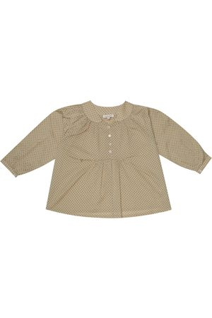 Caramel Victoria polka-dot cotton blouse