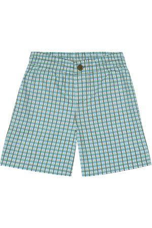 Caramel Barbican checked cotton shorts