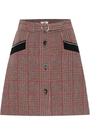 Miu Miu Checked wool-blend skirt
