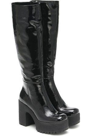Miu Miu Leather platform knee-high boots