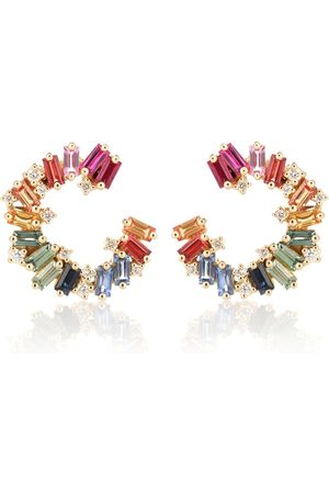 Suzanne Kalan Rainbow Spiral 18kt gold earrings with diamonds and sapphires