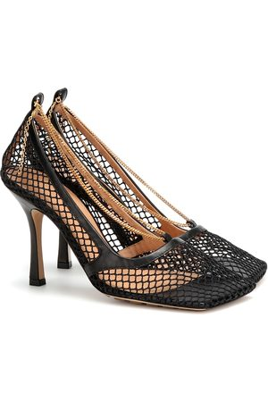 Bottega Veneta Leather-trimmed stretch-mesh pumps