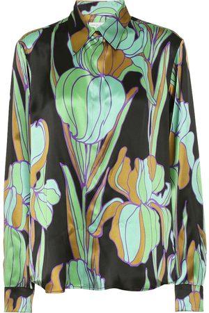 DRIES VAN NOTEN Floral silk satin shirt