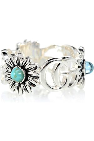 Gucci Dame Ringer - Double G flower sterling silver ring with topaz and mother of pearl