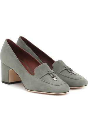 Loro Piana Charms embellished suede pumps