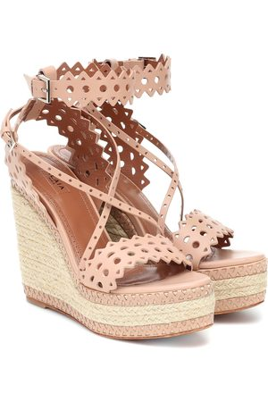 Alaïa Leather wedge espadrille sandals