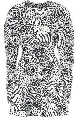 ROTATE Tara Taffeta zebra-print minidress