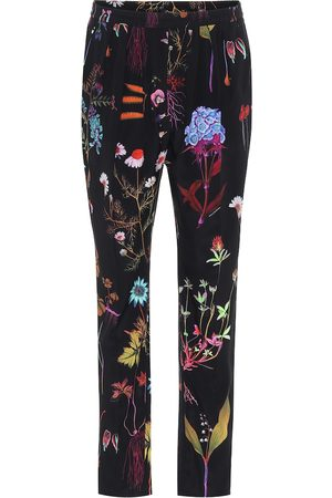Stella McCartney Floral high-rise slim silk pants