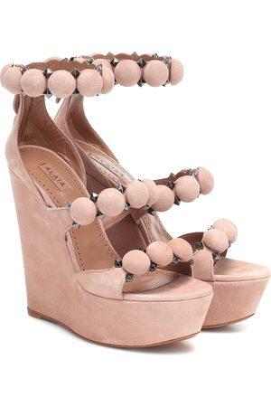 Alaïa Bombe suede wedge sandals