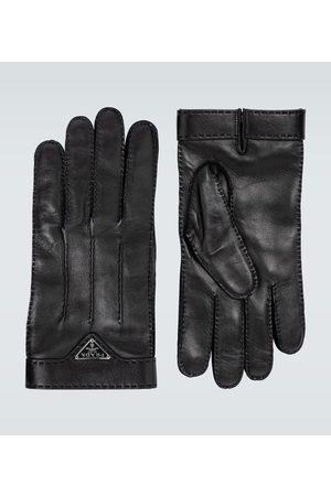 Prada Leather gloves with logo