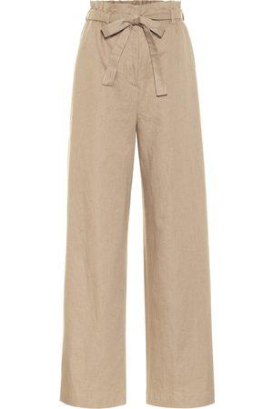 Agnona Wide-leg linen-blend paperbag pants