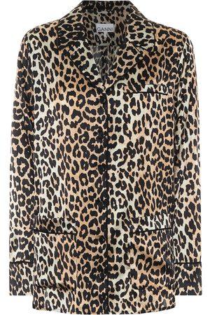 Ganni Leopard-print stretch silk-satin pajama shirt