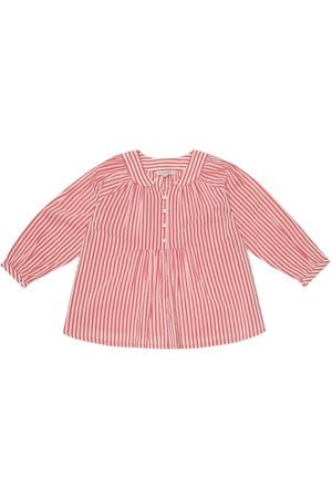 Caramel Victoria striped cotton-blend blouse