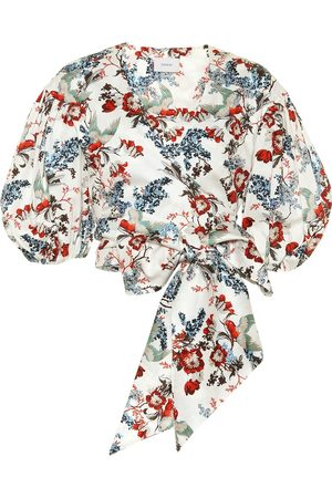 Erdem Cylenne floral cotton-poplin crop top