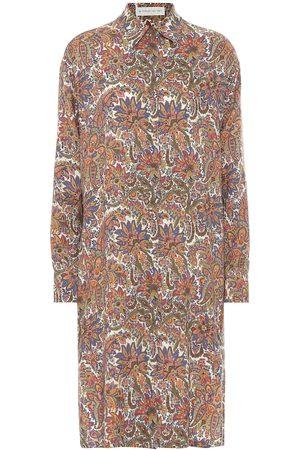 Etro Printed wool and silk shirt dress