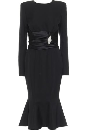 ALEXANDRE VAUTHIER Embellished wool-crêpe midi dress