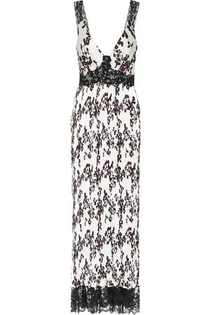Paco rabanne Lace-trimmed floral satin dress
