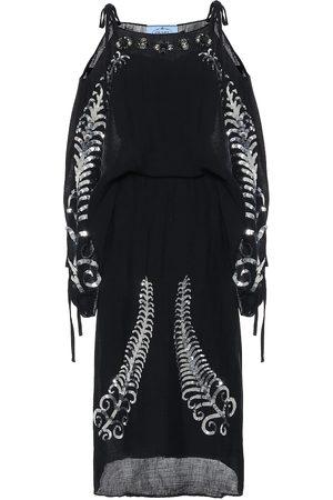Prada Sequined silk off-shoulder midi dress
