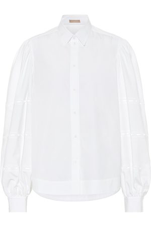 Alaïa Puff-sleeve cotton-poplin shirt
