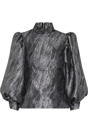 Ganni Metallic jacquard blouse